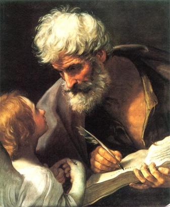 Above: Guido Reni, St Matthew and the Angel (ca. 1640) (Pinacoteca Vaticana) (http://commons.wikimedia.org/wiki/File:Guido_Reni_-_St_Matthew_and_the_Angel_-_WGA19308.jpg)